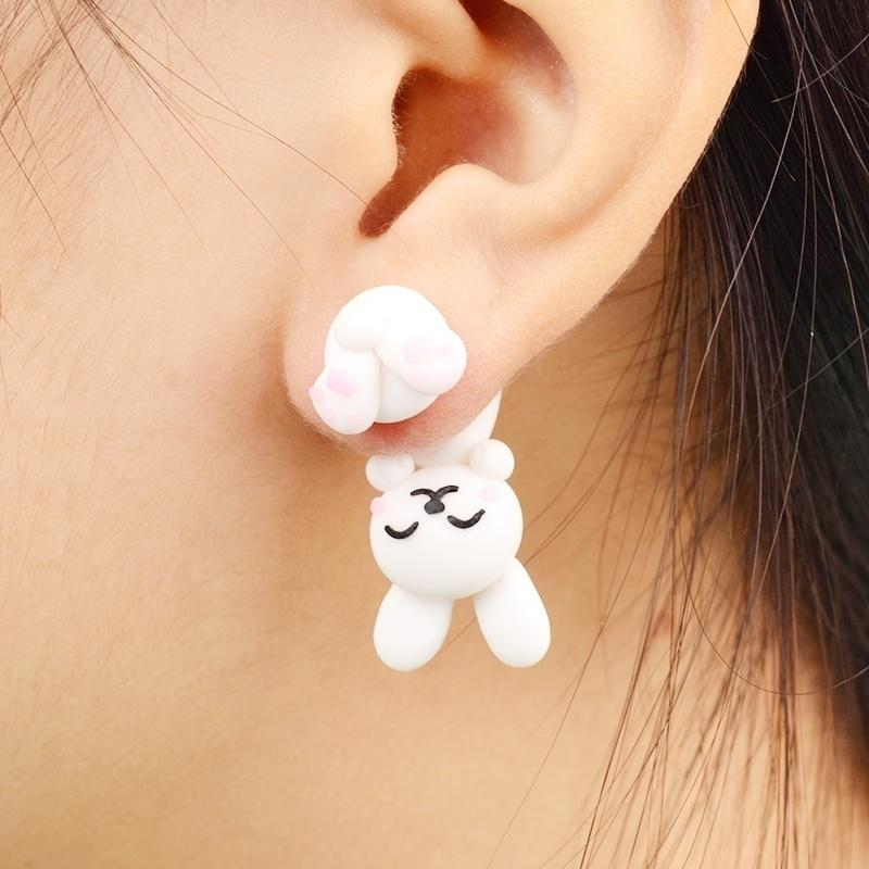 1 Pair New Fashion Cute Lovely Handmade Creative Unique Jewelry Women Lady Girl Polymer Clay Soft Cute Animal Dinosaur Dog Cat Fox Pottery Earrings Animal Piercing Ear Stud Earring Party Gifts Accessories