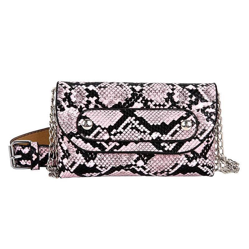 2019 Wide Belt Waist Bag Fashion Personality Snake Skin Chain Pattern  Single Shoulder Pu Leather Fanny Pack Belt Bags-1.9