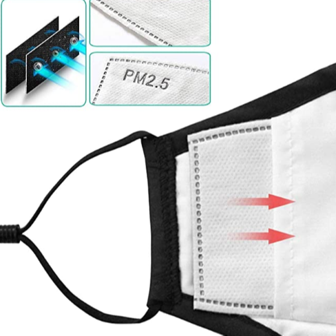 PM2.5 Activated Carbon Face Mask Filter for Adults, Replaceable Mouth Respirator Filter