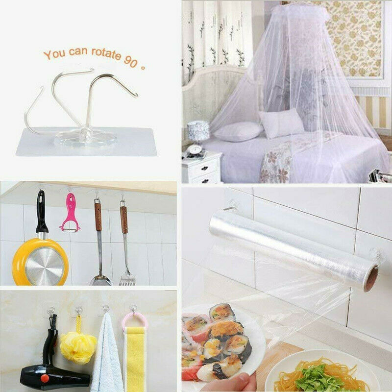 Adhesive Hook Holder Transparent Seamless Kitchen Bathroom Stick on Wall