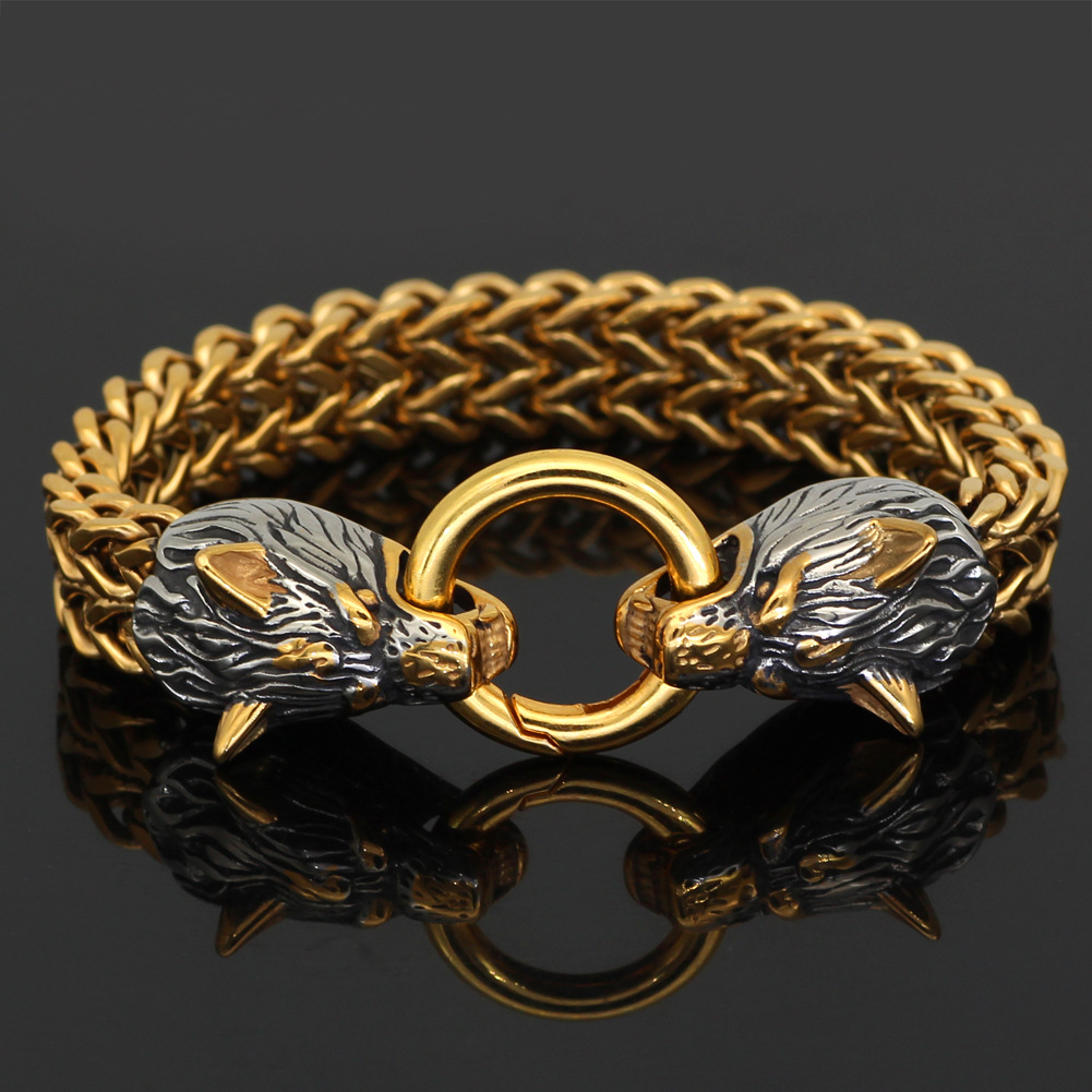 🎁Father's Day Gift🎁-Viking Wolf Head Bracelet🐺