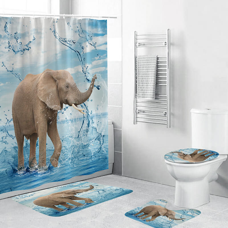 3D Creative Animal Picture Waterproof Shower Curtain (Set of 4)