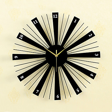 Wall Clock,Casual Modern Contemporary Retro Wood Glass Metal Round Indoor / Outdoor