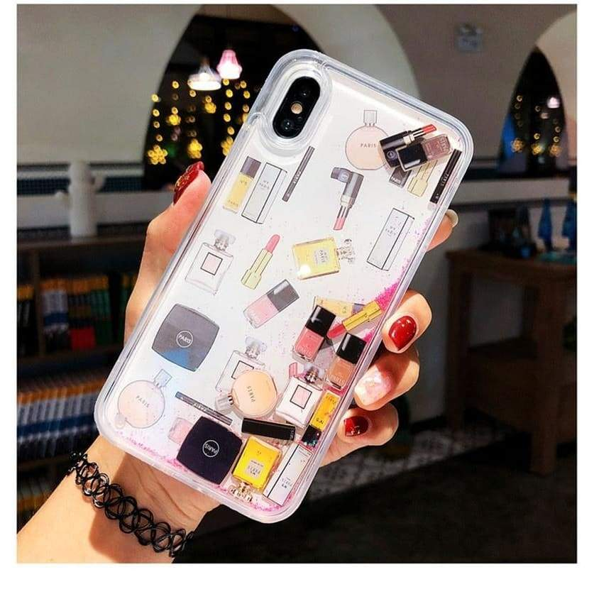 Makeup Cosmetic Quicksand Case for Iphone XS Max X XR Bling Glitter Dynamic Liquid Hard Phone Case for Iphone 6 6s 7 8 Plus
