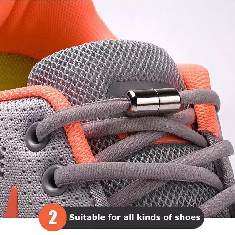 1 Pair Metal Tip Round Shoelaces Elastic Shoe Laces New Quick Locking Lazy Laces Kids Adult Sneakers Shoelace