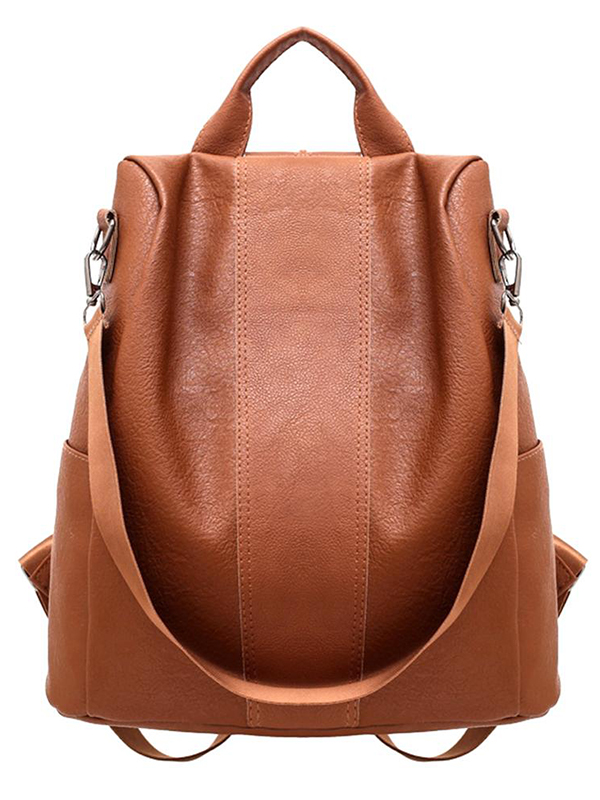Casual simple double shoulder leather backpack