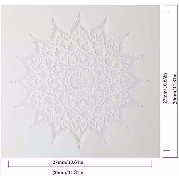 Large Size Reusable Stencil Laser Cut Painting Template Floor Wall Tile Fabric Furniture Stencils Mandala Painting Stencils Set of 4 (12x12 inch)