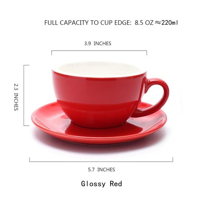 Thick Body Ceramic Coffee Cup and Saucer Cappuccino Coffee Cup Drinkware