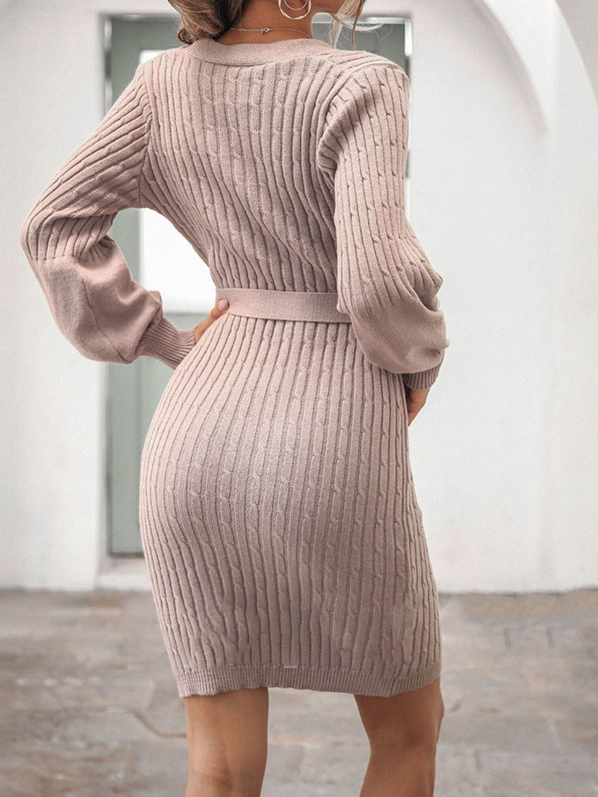 V-Neck Long Sleeve Lace-Up Above Knee Bodycon Women's Dress