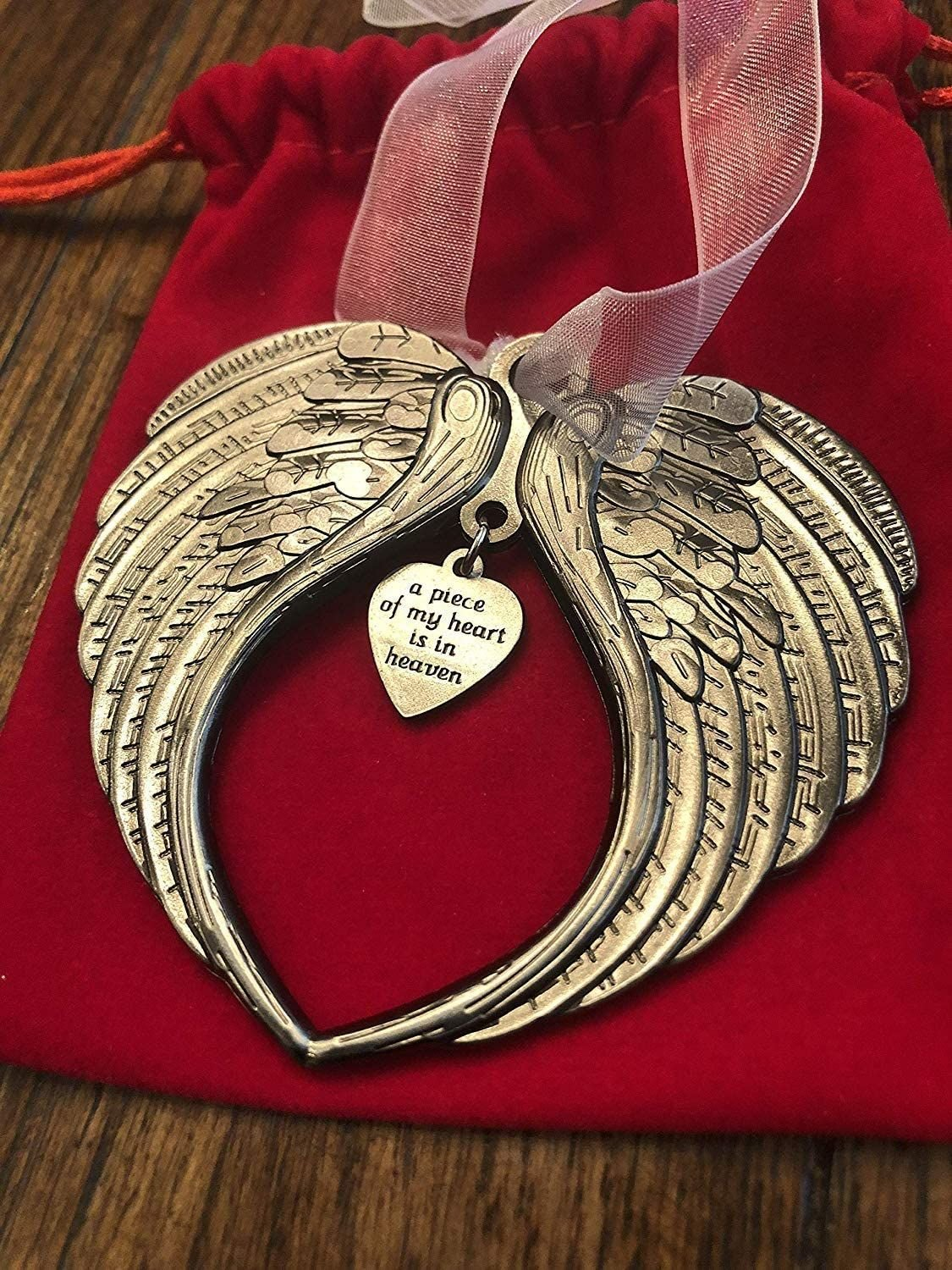 Christmas Ornaments Angel Wings- A Piece Of My Heart Is In Heaven