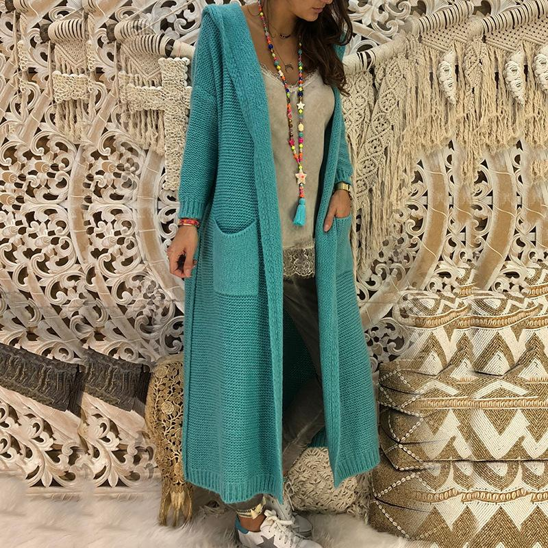 Women's opent front hooded knitted cardigan duster cardigan sweater with pockets