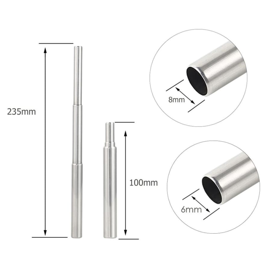 Stylish Reusable Collapsible Drinking Straws Stainless Steel Metal Straw with Brush