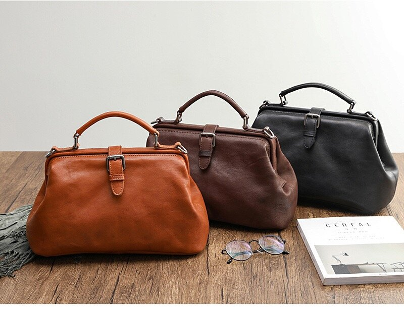 💥【40% OFF】💥Vintage Manual Paint Vegetable-tanned Leather Doctor Bag