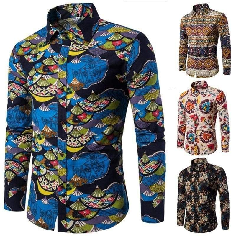 FRPE Men Long Sleeve Button Down Shirt Contrast Color Pattern Tops