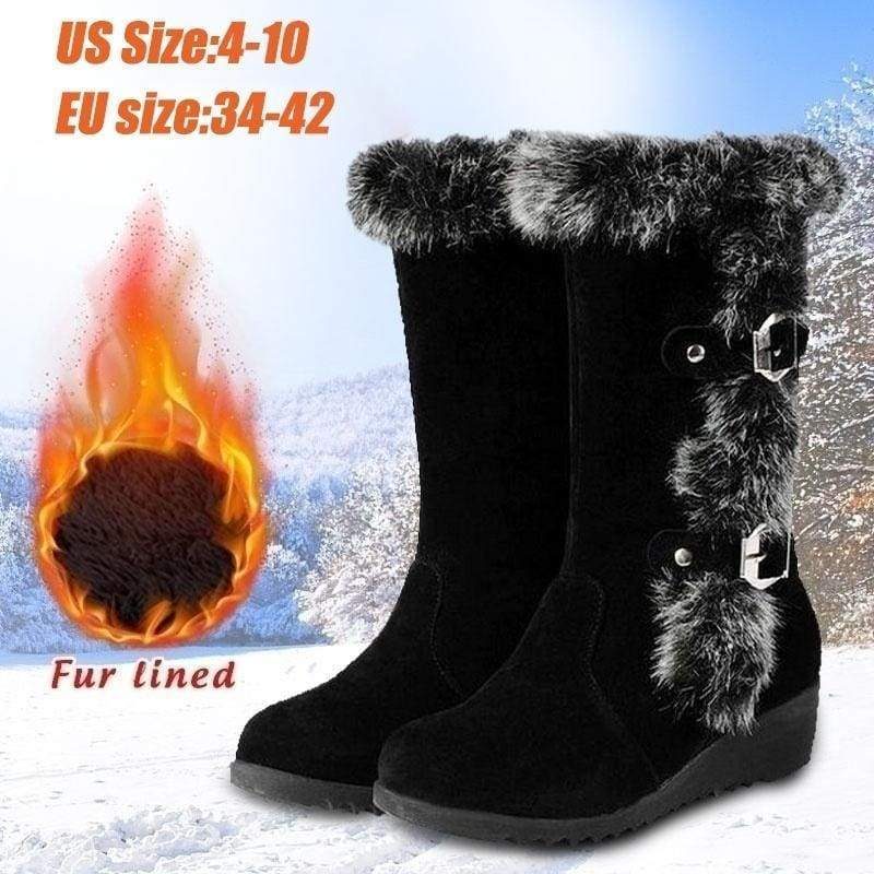 New Fashion Winter Women Warm Snow Boots Mid Calf Faux Fur Shoes Size 34-42
