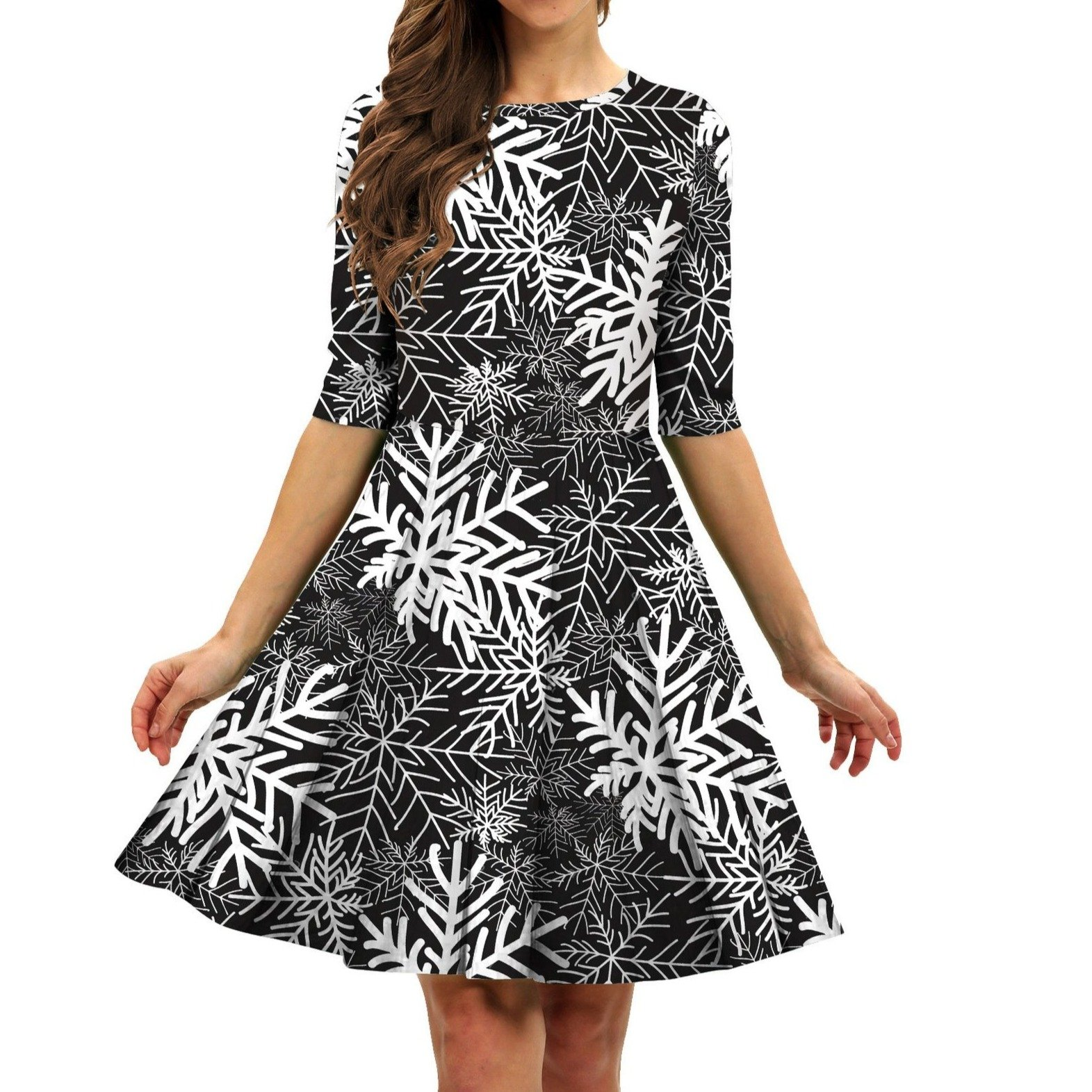 Women's swing vintage print Chritstmas party dress A-line fashion new year party dress
