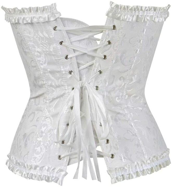 Women's Lacing Corset Top Satin Floral Boned Overbust Body Shaper Bustier