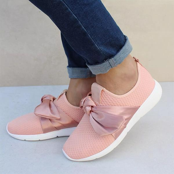 Faddishshoes Casual Comfy Bow Sneakers