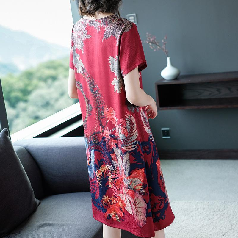 2020 New Classic Retro Silk Printed Dress