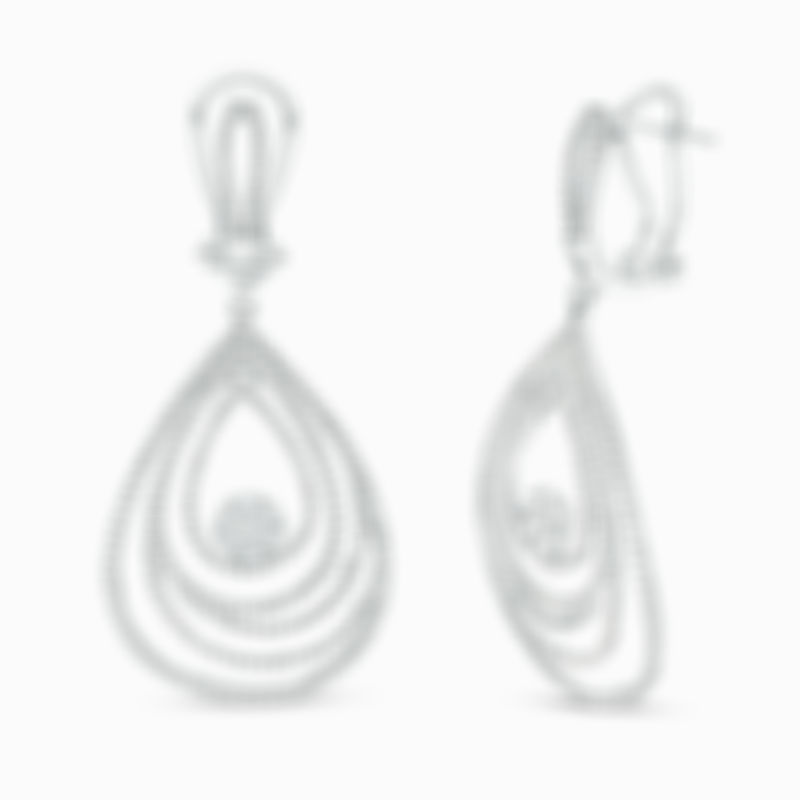 Diamond Layered Teardrop Earrings in 10K White Gold