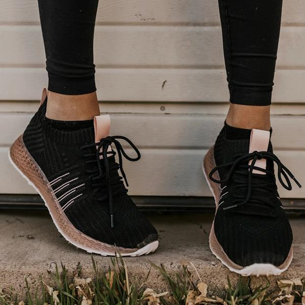 Twinklemoda Comfy Pink Stripe Athletic Sneakers