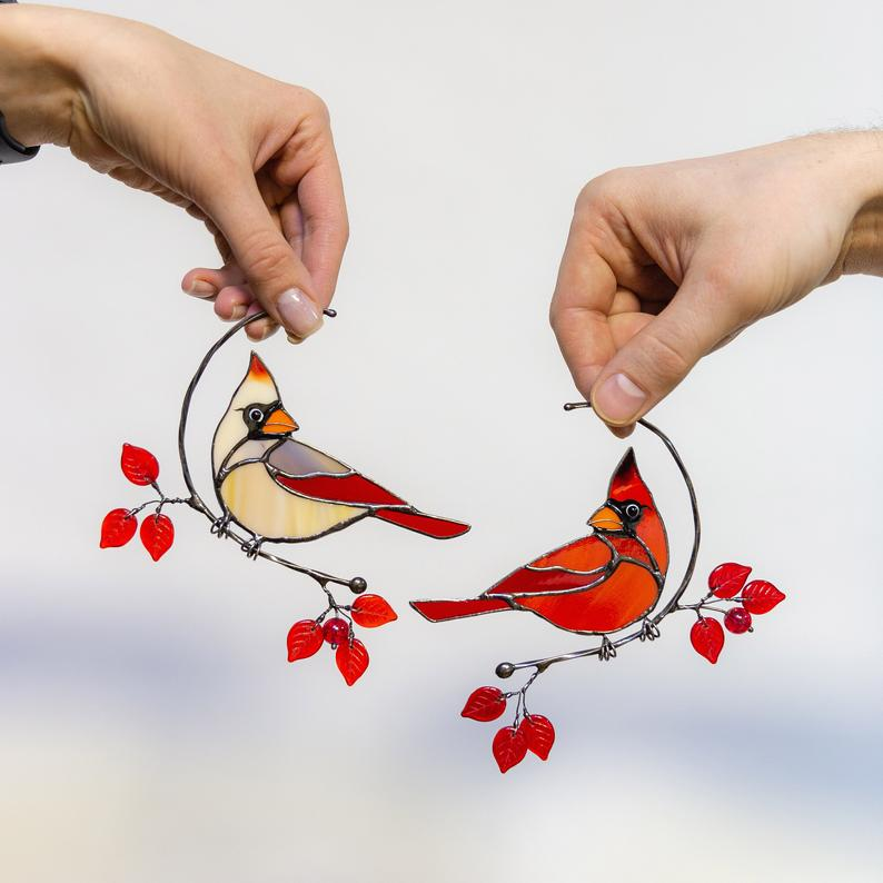(50% OFF)Cardinal Bird Stained Glass Window Decoration Mother's Day Gift