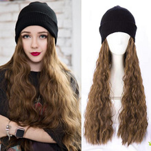 Hat Wig One-piece Women's Long Hair Autumn And Winter Fashion Network Red Knitted Wool Wig Light Board Flipped along Stylish