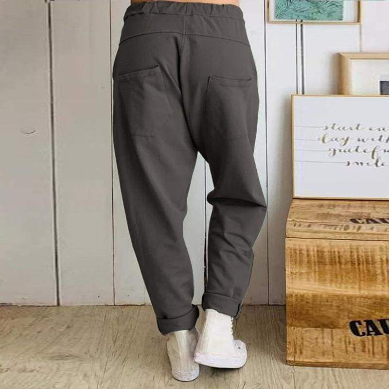 Autumn Casual Women Elastic Waist Solid Color Cotton Harem Pants Long Pants Baggy Trousers S-5XL