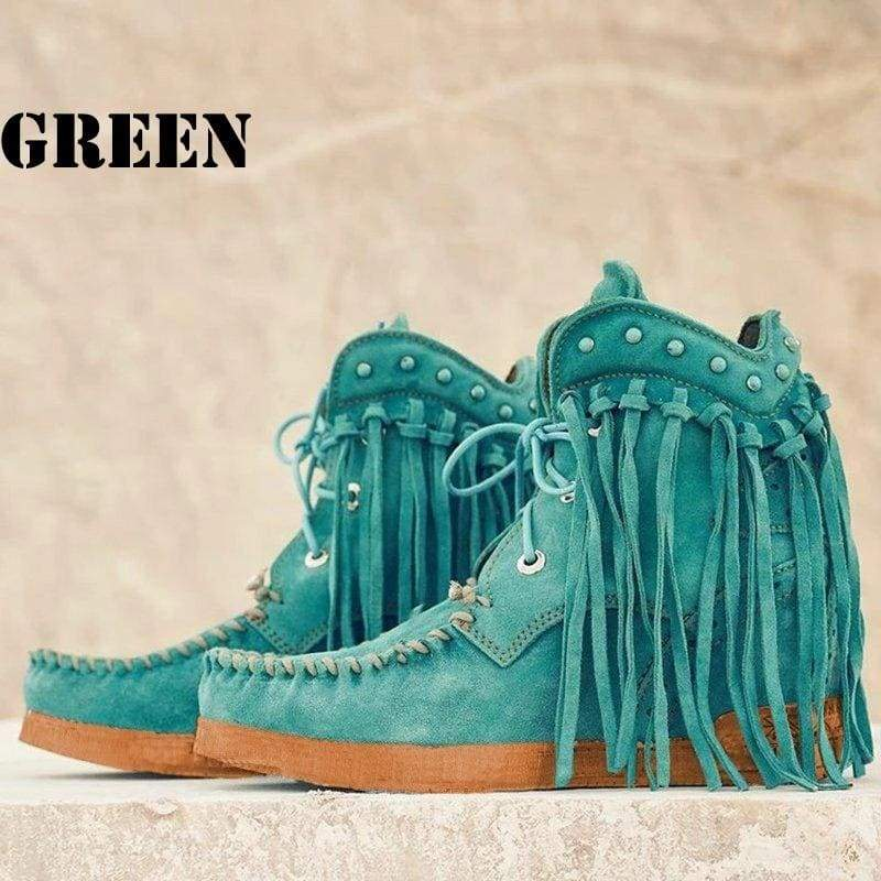 Women Faux Suede Spring/Fall Ankle Boots Fringed PU Leather Tassel Wedge Boots Solid Round Toe Autumn Winter Boots Comfy Warm Rivet Short Boots Plus Size