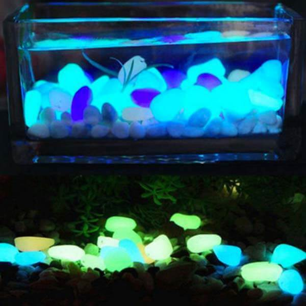 Glow-in-the-Dark In-ground Garden Pebbles Lights
