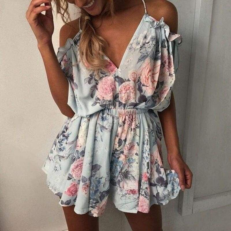 Women Fashion Blusas Femininas Sexy Deep-v Braces Jumpsuit Floral Rompers Shorts Ropa De Mujer