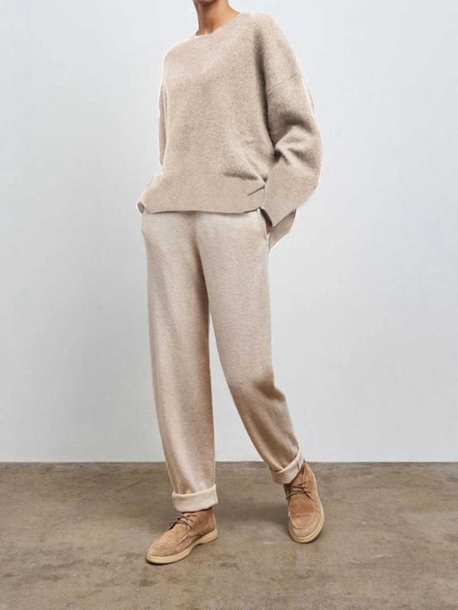 Simple Casual Loose Round Neck Blouse Pants Knitted Suit
