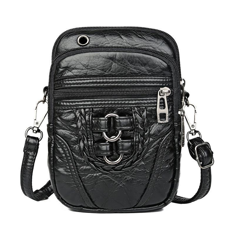 Retro stylish leisure soft leather multi-layered messenger bag