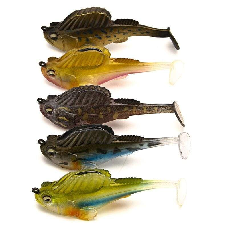 YJ 1PC Soft Bait Lead Jig Dark Sleeper Swimbaits Fishing Pike Lure Bass Shad
