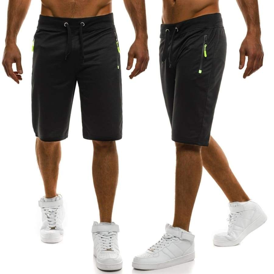 Men's Casual Workout Athletic Gym Jersey Shorts Elastic Waist Drawstring Summer Training Running Knee Length Shorts with Zipper Pocket