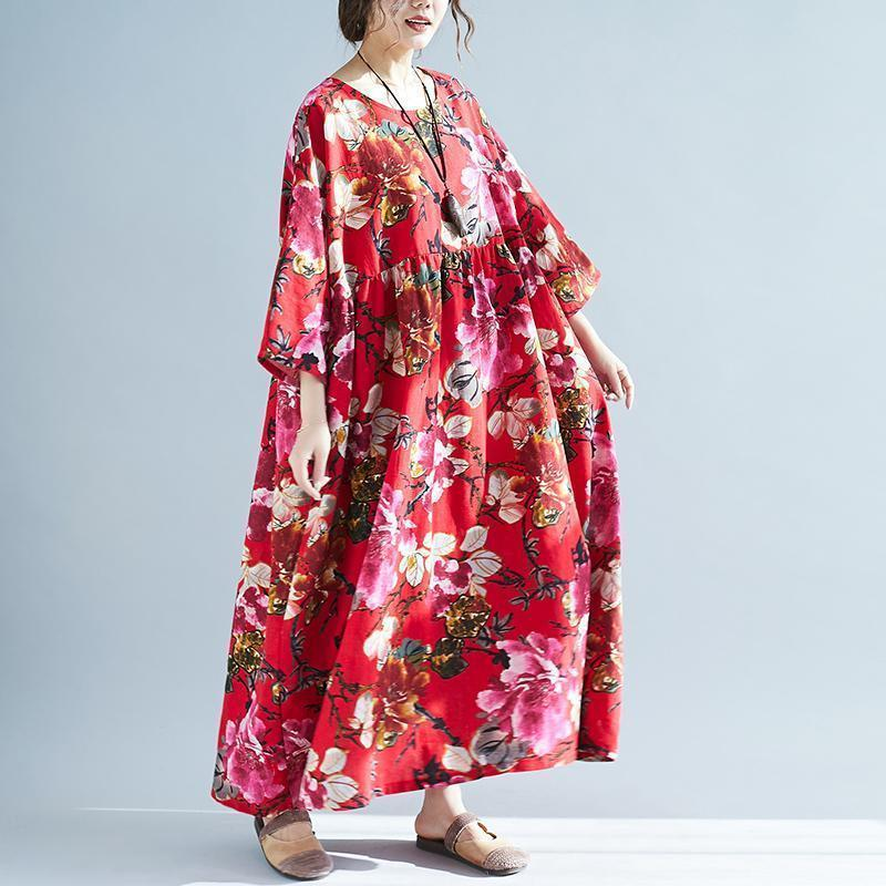 Casual Round Neck Long Sleeve Pleated Printed Colour Loose Dress