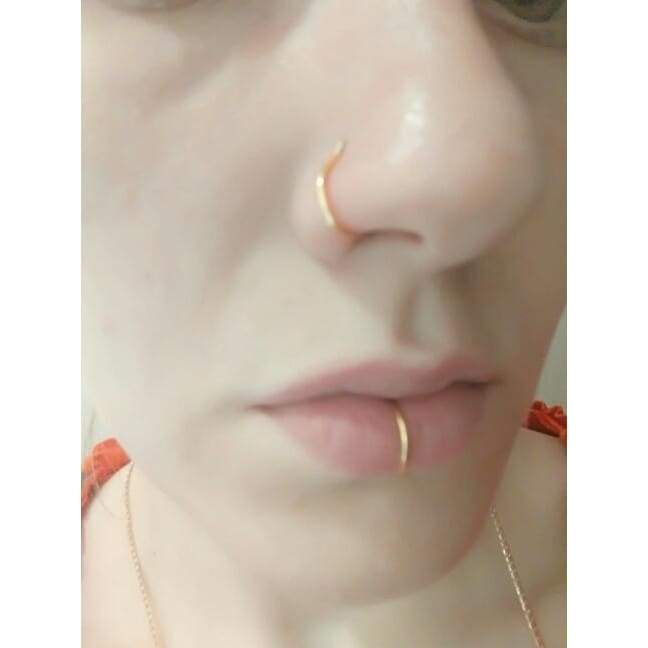 Starbeauty 2 Pcs Lot 18g C Shaped Fake Nose Ring Rose Gold Kylie