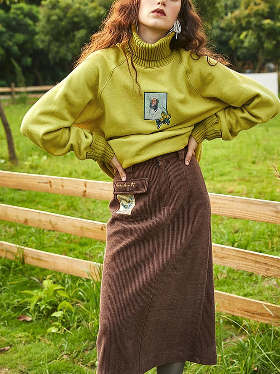 Cotton polyester long-sleeved turtleneck sweater
