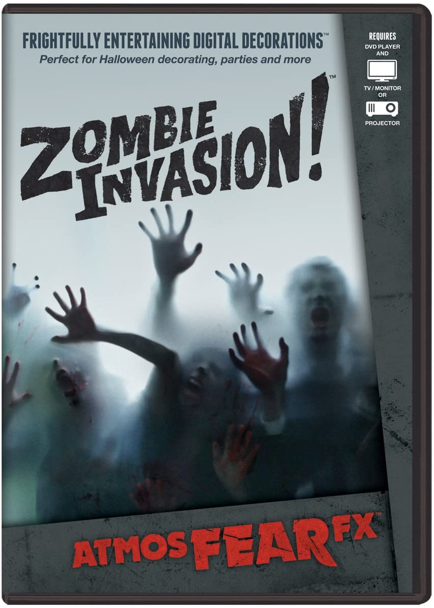 AtmosFX Zombie Invasion! Digital Decorations DVD for Halloween Holiday Projection Decorating