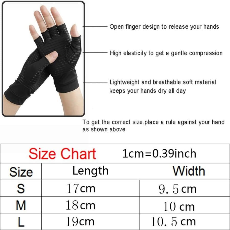 1 Pair Compression Gloves Medical Anti-Arthritis Copper Therapy Gloves Grippers Hand Support Relieve Rheumatoid Pain Gloves (Half Finger/Full Finger)
