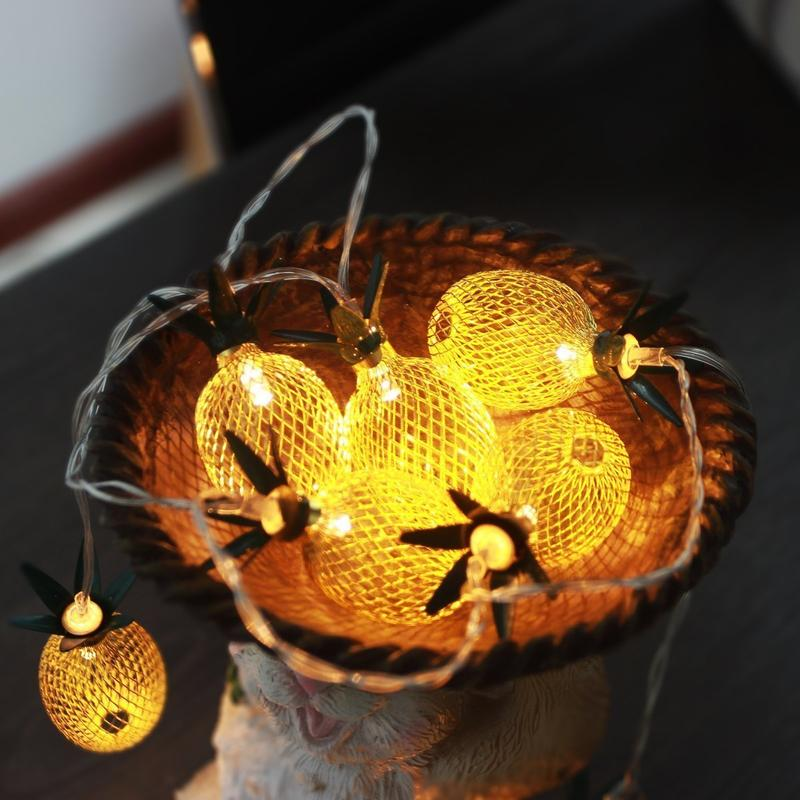 Pineapple String String Lights Battery Operated  String Lights for Home Decor LED Iron Lantern for New Years Christmas Party