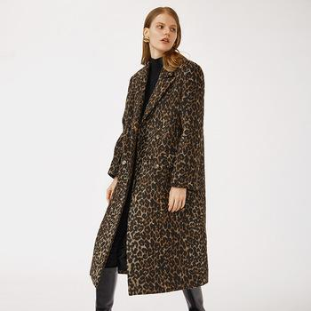 daily life wool blended fabric premium quality  notched collar women Leopard grain long blazer coat-Casual Outwear 2.11