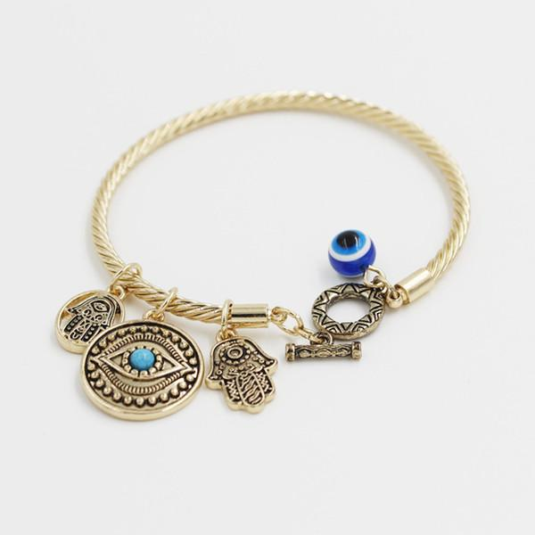 Turkey Evil Eye Charms Bangle Bracelets Golden Bangles and Charms Toggle-clasps