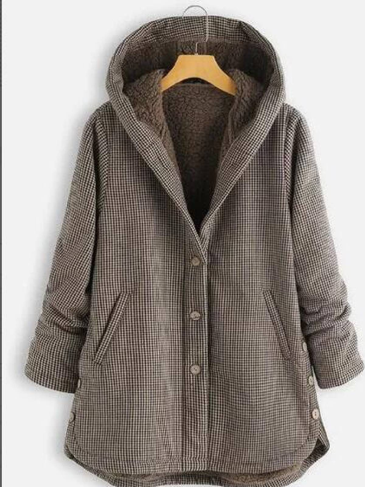 Buttoned Hoodie Casual Cotton-Blend Outerwear(Free Shipping)