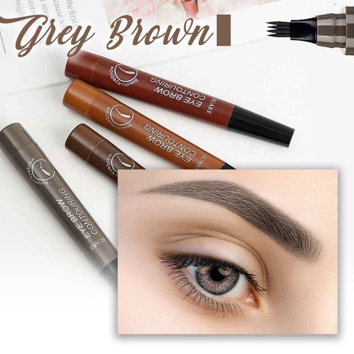 4D Eyebrow Pen-Waterproof Fork Tip Durable Eyebrow Pencil