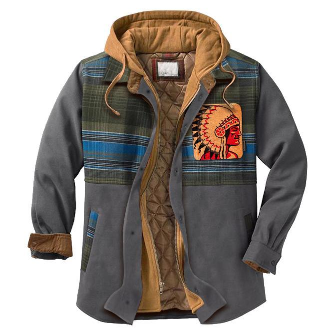 Men's casual plaid stitching chiefs print hooded jacket