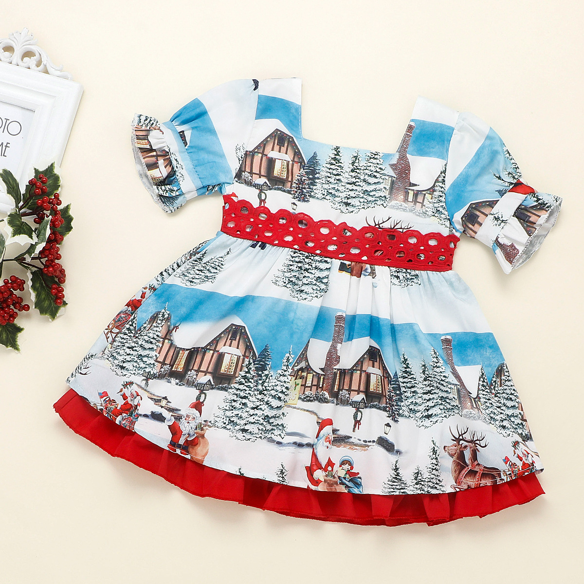 Little girl Christmas bow princess dress