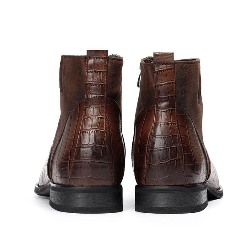 Top Quality Men Boots Crocodile Pattern Side Zipper Leather Boots Pointed Toe Chelsea Ankle Boots Autumn Winter Male Short Warm Boots High Top Formal Wedding Dress Shoes Big Size