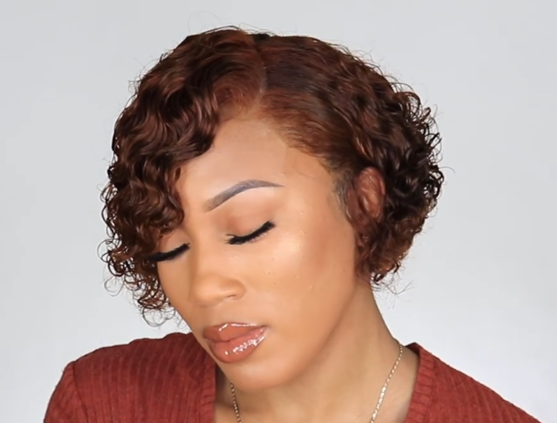 summer curly pixie wig 100 % Human Hai