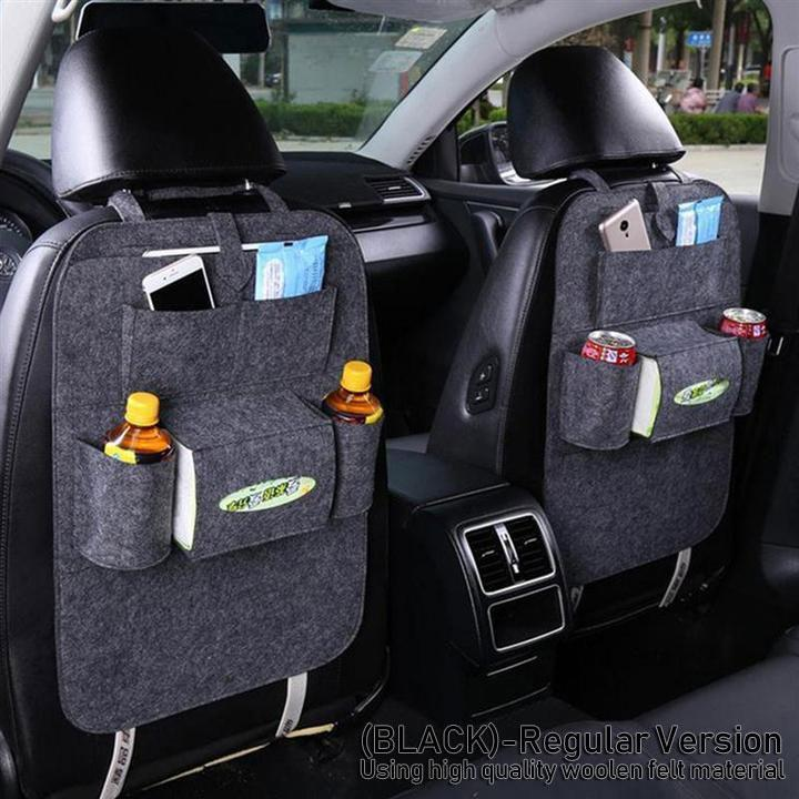 High Quality PU Leather Car Seat Back Organizer With Table